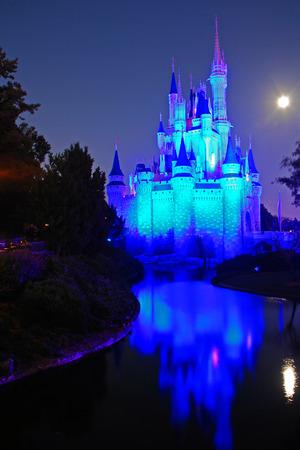Full Moon and Full Illumination of Disney Castle