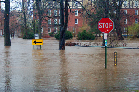 Suburban town is flooded during heavy rains Stock Photo