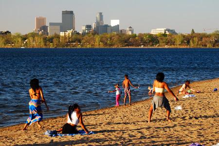 A Summer Day along the Shore of Lake Calhoun Editorial