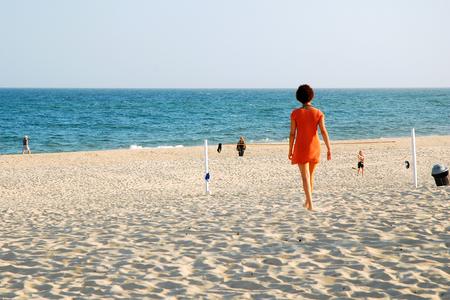Solitude on East Hampton's Main Beach Stock Photo