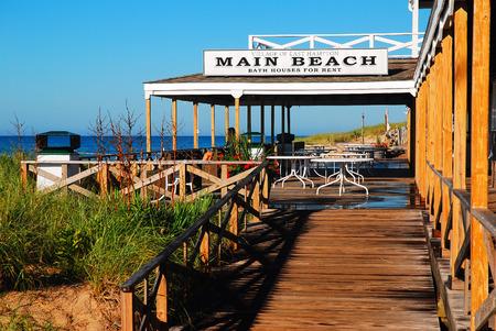 end of a long day: Main Beach Pavilion, East Hampton Stock Photo