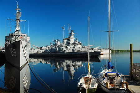 USS Joseph Kennedy and USS Massachusetts, Battleship Cove Editorial
