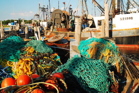montauk: Commercial Fishing Vessels in Montauk Harbor, Long Island, New York Stock Photo