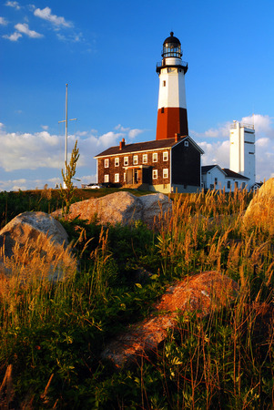 navigational light: Montauk Point Light is one of the Oldest Lighthouse in America Stock Photo
