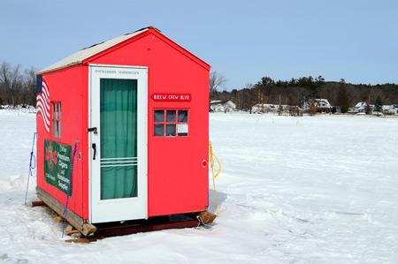 An Ice Fishing Shack on Frozen Lake Winnipesaukee New Hampshire