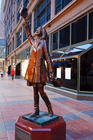 A Statue of Television Star Mary Tyler Moore, displaying her iconic hat throw, is a popular feature ont he Fourth Street Mall in Minneapolis
