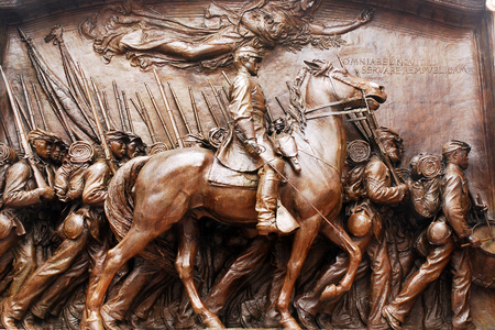 honouring: Memorial to the Massachusetts 54th first all African American unit in the Civil War