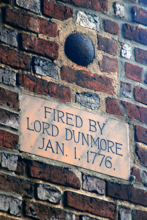 Cannonball, fired during the American Revolution, remains lodged in the wall Stock Photo