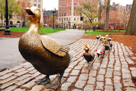 Haga el camino para los patitos, estatuas de bronce que honran la historia de un niño famoso en Boston Publik Garden