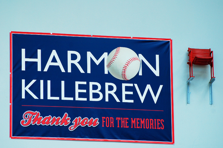 honouring: Seat Marking Harmin Killebrews last Home Run remains at the Mall of America in Minnesota Editorial