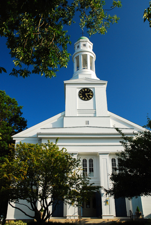 Quaint Church in New England Stock Photo