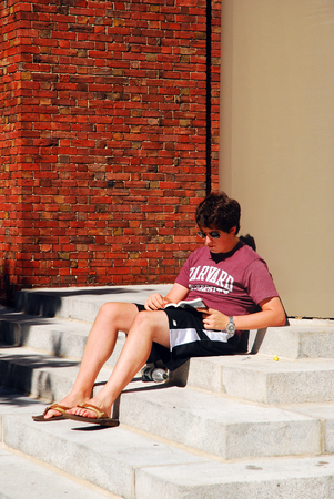 Harvard University Student Studying on the steps of the Memorial Chapel