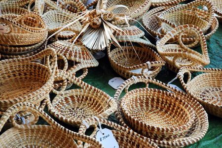 Handmade Sweetgrass, a South Carolina Low Country Traditional Craft, on Display at Charlestons City Market