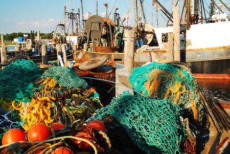 Commercial Fishing Vessels in Montauk Harbor, Long Island, New York Stock Photo