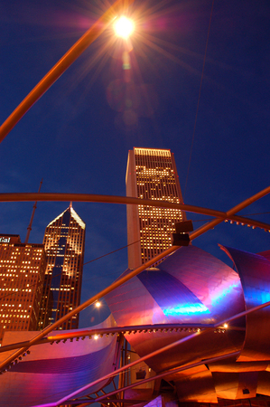 The Chicago Skyline Seen Through the Arches of the Pritzger Theater