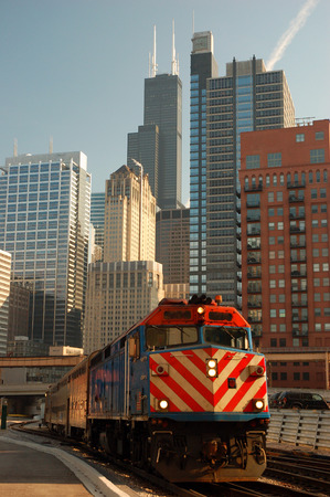 A Metra CommuterTrain Leaving Union Station Chicago