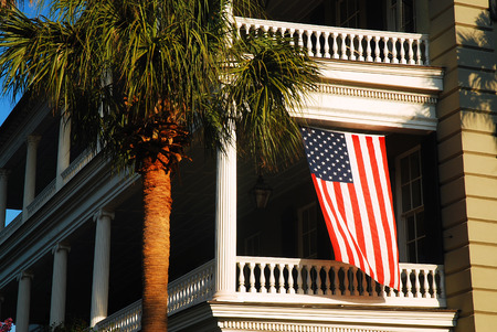 American Flag Hangs from a Balcony, Charleston SC