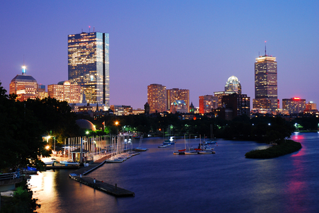 Dusk on Boston and the Charles River