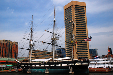 The USS Constellation, an historic ship is docked at Inner Harbor, Baltimore