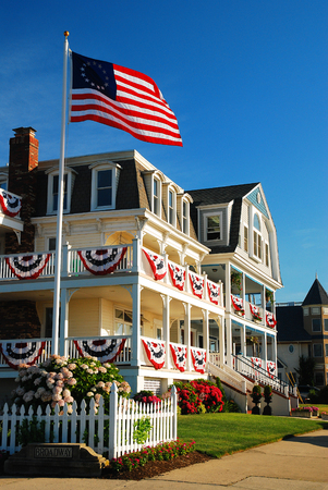 Fourth of July Decorations in Ocean Grove NJ Editorial