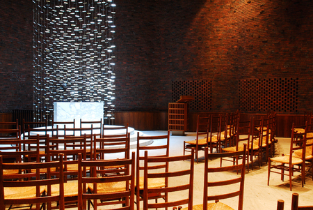 Interior of the Kresge Chapel designed by Eero Saarinen, on the Campus of MIT