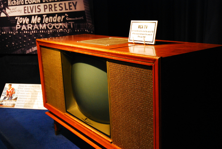 A 1960 style RCA Television, once belonging to Elvis Presley is on display in Graceland, Memphis, Tennessee