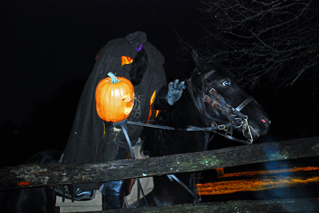 The Headless Horseman Rides in Sleepy Hollow During a Halloween Celebration