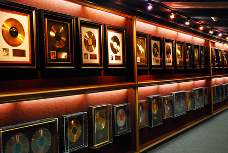 Gold Records Hang on the Wall at Elvis Presely's Graceland