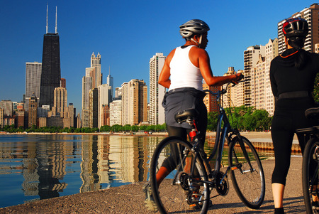 Bicyclists along the lakeshore in Chicago Editorial