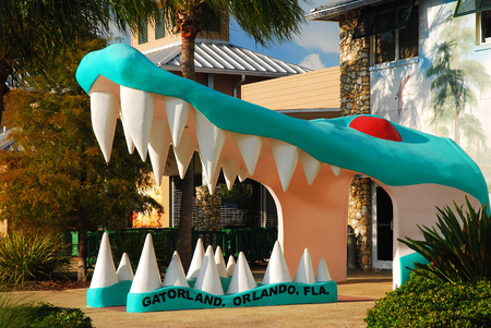 A large alligator head marks the entrance to Gatorland, a tourist attraction in Orlando, Florida