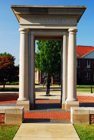 The James Meredith Monument honors the first African American to attend the University of Mississippi