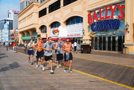A team of cadets jog along the Boardwalk, Atlantic City