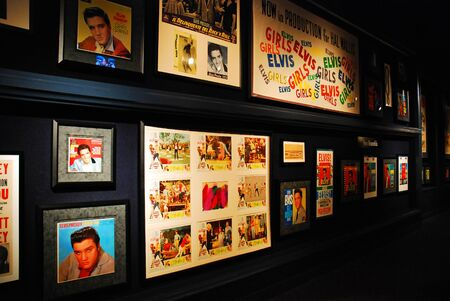 Posters from various Elvis Presley movies hang in Graceland in Memphis, Tennessee