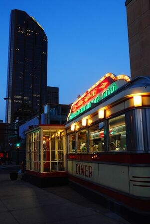 Night on Mickey's Diner in Downtown St Paul, Minnesota Editorial