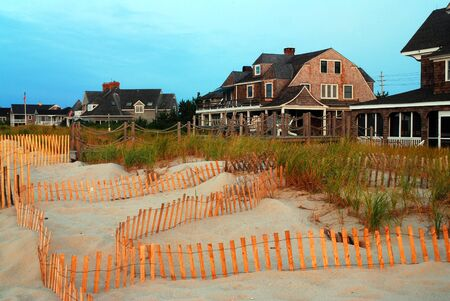 A snow fence protects the dunes from erosion along the Jersey Shore