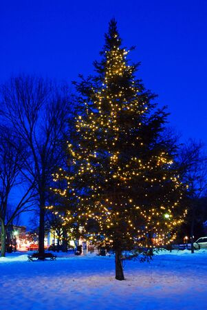 A Christmas tree lights up a Vermont town square at dusk