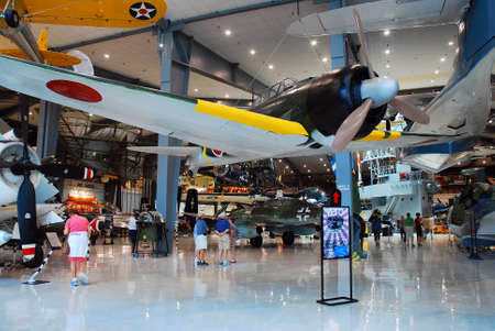 Japanese and German World War II era airplanes are on display at the Naval Air Museum in Pensacola, Florida