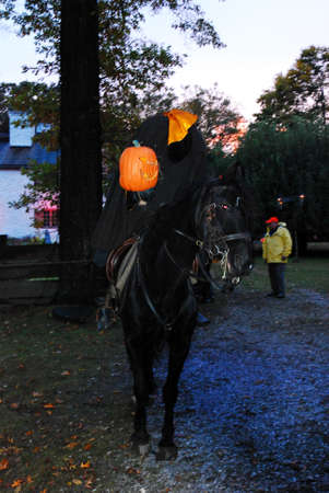 The Headless Horseman Rides at a Halloween Festival in Sleepy Hollow New York Editorial
