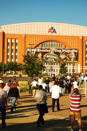 A Crowd Heads Towards the American Airlines Arena in Dallas Texas