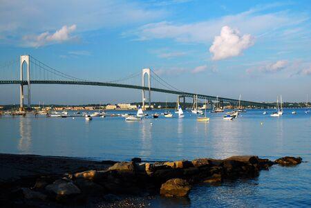 The Newport Pell Bridge connects Jamestown and Newport, Rhode Island