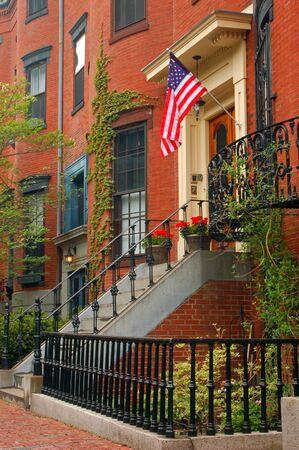 An American flag flies in Boston's South End