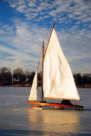 Ice Yachting on a frozen river Banco de Imagens
