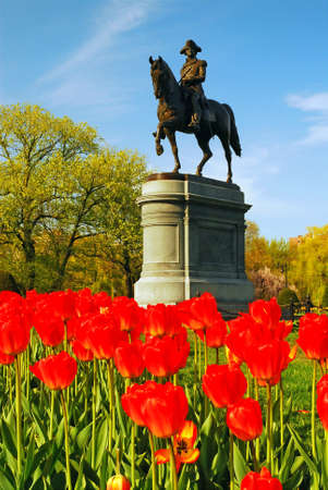 A sculpture of George Washington stands above a bed of red tulips in the Boston Publik Garde, near Boston Common