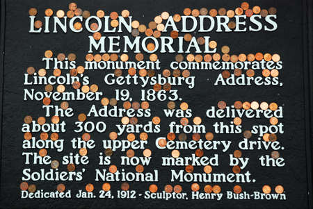 As Per Tradition, People Place Lincoln Pennies on the Plaque Honoring his Gettysburg Address