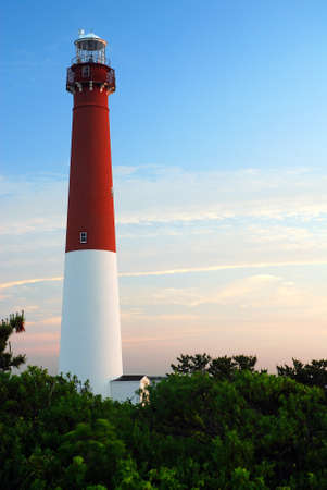 Barnegat Lighthouse glows in gthe morning light Foto de archivo
