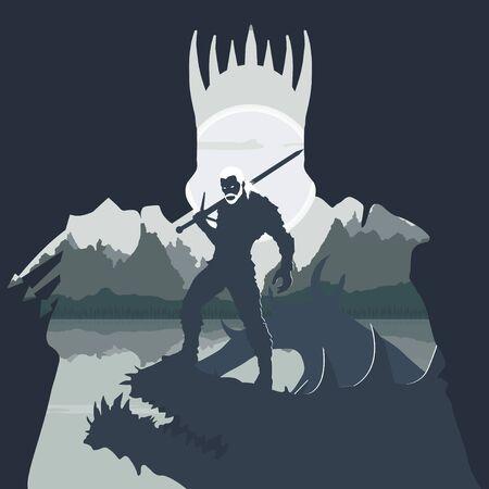 the monster hunter killed the monster Vektorgrafik