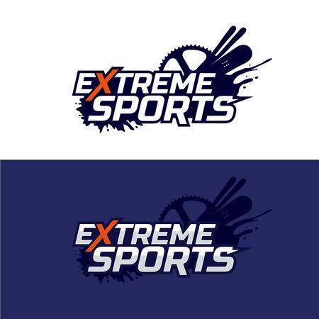 Extreme sports logo. Snowboard, ski and bike, mud splashes.