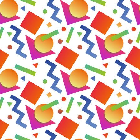 Seamless geometric memphis pattern in retro 80s 90s flat style