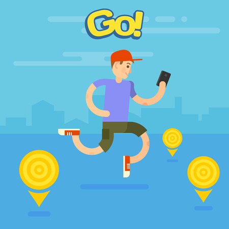 Man playing popular game on smartphone on the move. Searching the map, finding and catching creatures in the city, searching balls. Flat  illustration.
