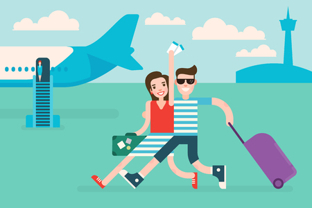 Couple tourists traveling by airplane. Woman holds air tickets in hand. Illustration